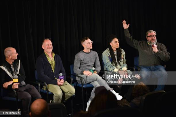 Filmmakers Fenton Bailey Randy Barbato figure skater Adam Rippon actor Amber Whittington and Alonso Duralde attend the Los Angeles special screening...