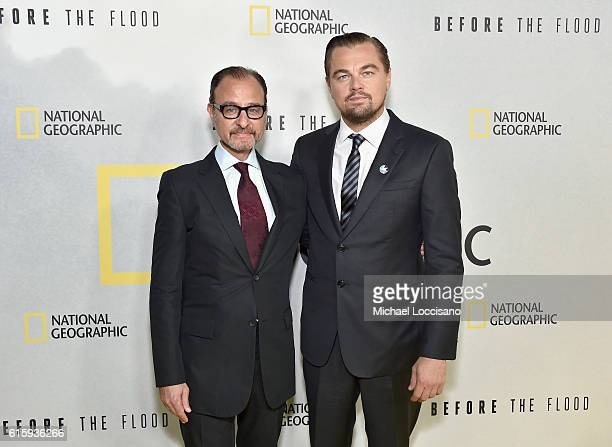 Filmmakers Fisher Stevens and Leonardo DiCaprio attend the National Geographic Channel Before the Flood screening at United Nations Headquarters on...