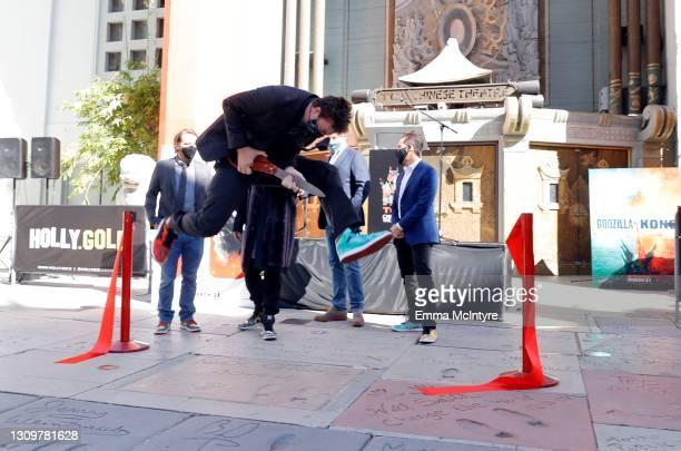 Filmmakers Gareth Edwards, Jordan Vogt-Roberts, Adam Wingard, CEO of Legendary Entertainment Joshua Grode, and Michael Dougherty attend the...