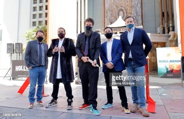 Filmmakers Gareth Edwards, Jordan Vogt-Roberts, Adam Wingard, Michael Dougherty, and CEO of Legendary Entertainment Joshua Grode attend the...