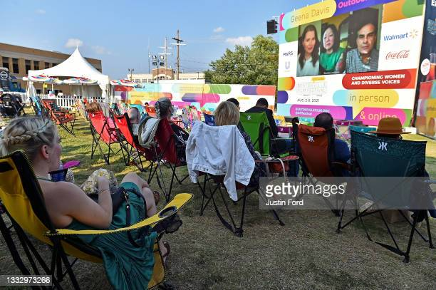 Filmmakers gather at the Geena Davis Theater during the 2021 Bentonville Film Festival Awards Ceremony & Party on August 07, 2021 in Bentonville,...