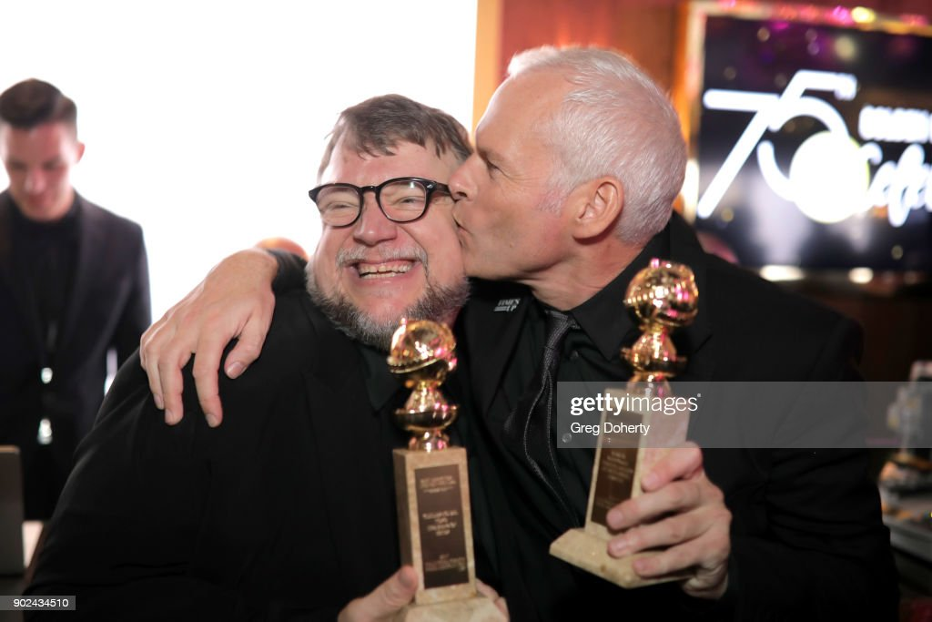 Filmmakers Guillermo del Toro (L), winner of the award for Best Director (Motion Picture) for 'The Shape of Water,' and Martin McDonagh, winner of the award for Best Screenplay (Motion Picture) for 'Three Billboards Outside Ebbing, Missouri,' attend the Official Viewing and After Party of The Golden Globe Awards bosted by The Hollywood Foreign Press Association on January 7, 2018 in Beverly Hills, California.