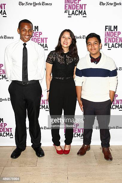 Filmmakers Isaiah Ray Pearce Leslie Torres and Guillermo Mora are honored with a scholarship during the Film Independent at LACMA screening and QA of...
