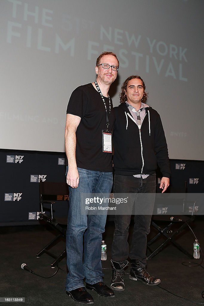 Filmmakers James Gray (L) and Actor Joaquin Phoenix attends the 'Immigrants' premiere during the 51st New York Film Festival at The Film Society of Lincoln Center, Walter Reade Theatre on October 4, 2013 in New York City.