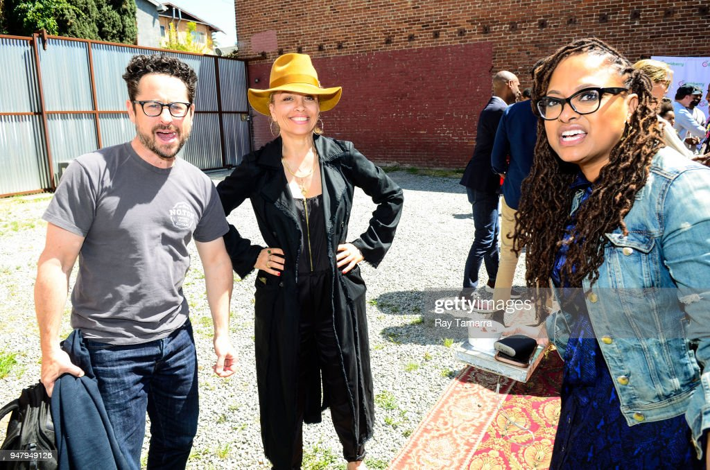 Filmmakers JJ Abrams, Victoria Mahoney, and Ava DuVernay attend the ARRAY Open House at the ARRAY Headquarters on April 17, 2018 in Los Angeles, California.