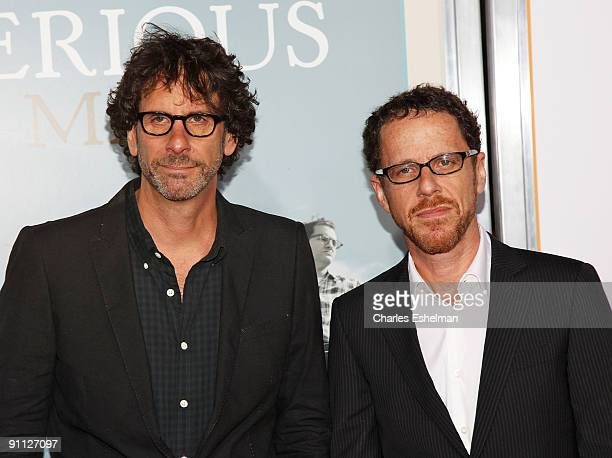Filmmakers Joel Coen and Ethan Coen attend A Serious Man premiere at the Ziegfeld Theatre on September 24 2009 in New York City