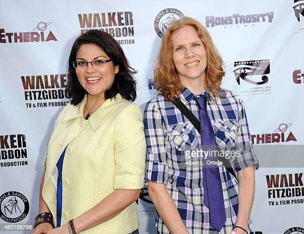 Filmmakers Joey Monasterrios and Amy Mullins arrive for the 2014 Etheria Film Night held at American Cinematheque's Egyptian Theatre on July 12 2014...
