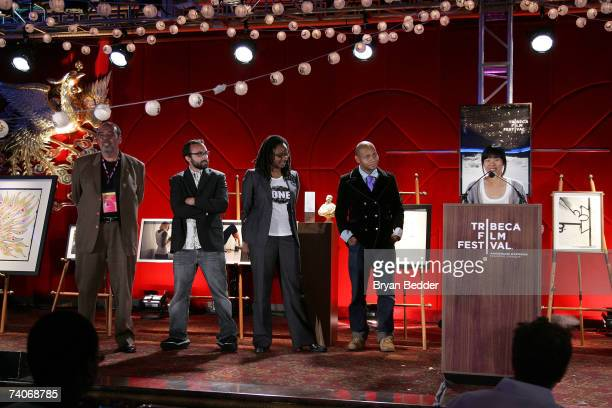 Filmmakers John Campo Ben Rekhi director Dee Rees DJ Spooky and director Marilyn Fu onstage at the 2007 Tribeca Film Festival awards show and wrap...