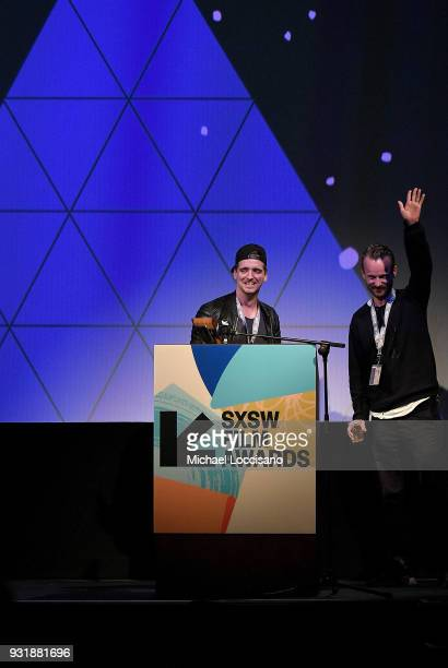 Filmmakers John Likens and Jon Noorlander accept the Excellence In Title Design award for 'Godless' at the SXSW Film Awards show during the 2018 SXSW...