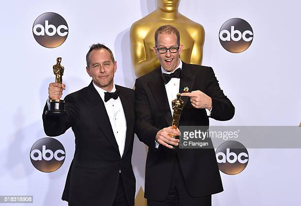 Filmmakers Jonas Rivera and Pete Docter winners of the Best Animated Feature award for 'Inside Out' pose in the press room during the 88th Annual...
