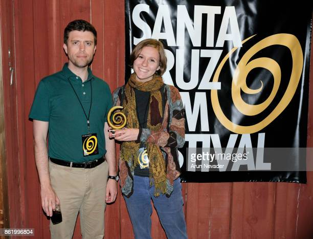 Filmmakers Julia Hechler and Jarrad F Jelstad receive a festival award for their film Les Cloys at the Santa Cruz Film Festival at Tannery Arts...