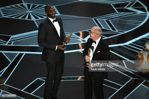 Filmmakers Kobe Bryant and Glen Keane accept Best Animated Short Film for 'Dear Basketball' onstage during the 90th Annual Academy Awards at the...