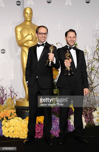Filmmakers Laurent Witz and Alexandre Espigares winners of Best Short Film Animated and actress Kim Novak pose in the press room during the Oscars at...