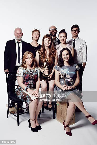 Filmmakers Marielle Heller Miranda Bailey Anne Carey Bert Hamelin Madeline Samit and actress Bel Powley and Jorma Taccone pose for a portrait at the...
