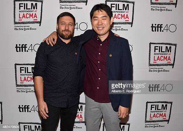Filmmakers Maxime Giroux and Albert Shin attend Film Independent at LACMA presents CAN/LA opening night at Bing Theatre At LACMA on July 30 2015 in...