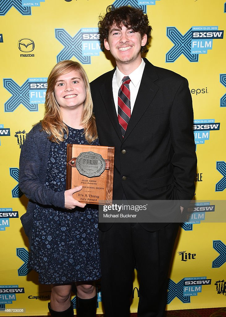 FIlmmakers Meredith Morran (L) and Ellis Kauffman poses with the award for 'It's A Thing' during the SXSW FIlm Awards at the 2015 SXSW Music, FIlm + Interactive Festival at the Paramount Theatre on March 17, 2015 in Austin, Texas.