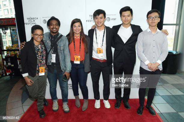Filmmakers Mia Cumberlander Joshua Cleveland Elena Mateus HanYu Chen Vincent Fan and William Ding attend the Campus Movie Fest Event during Tribeca...