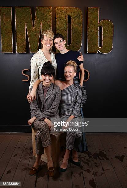 Filmmakers Mia Lidofsky Calia Rowlson Hall actresses Zoe Chao and Meredith Hagner of Strangers attend The IMDb Studio featuring the Filmmaker...