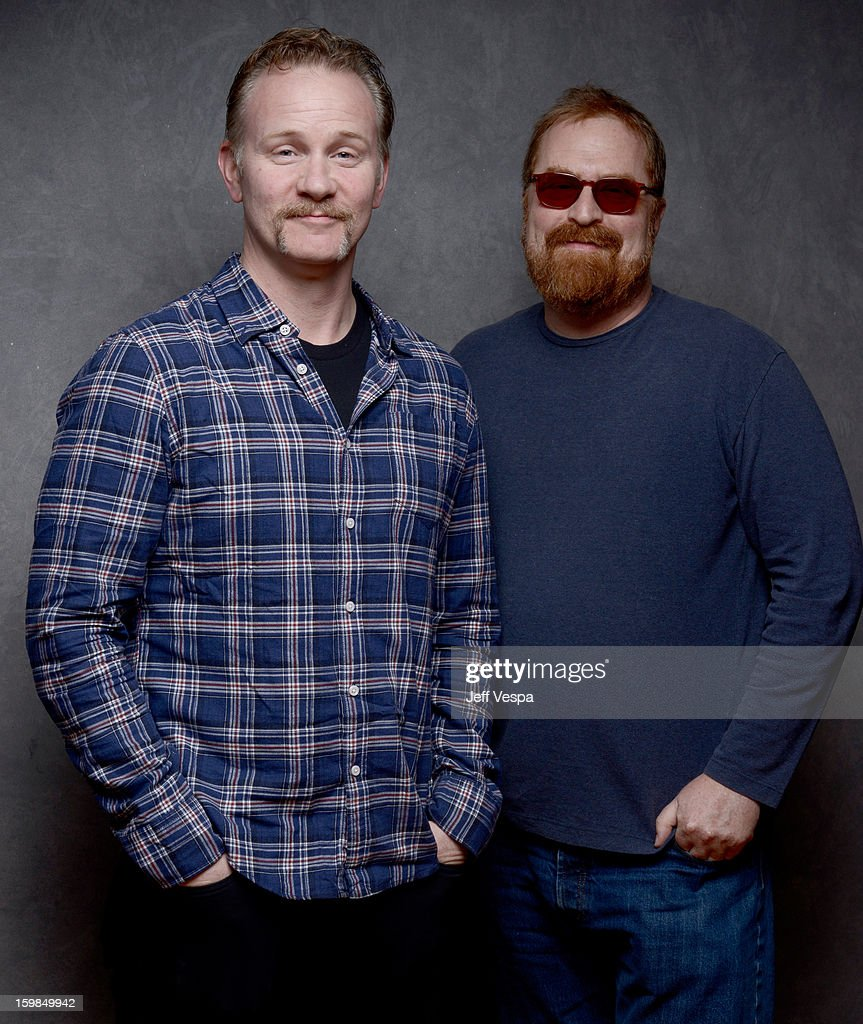 Filmmakers Morgan Spurlock (L) and R.J. Cutler pose for a portrait during the 2013 Sundance Film Festival at the WireImage Portrait Studio at Village At The Lift on January 21 2013 in Park City, Utah.