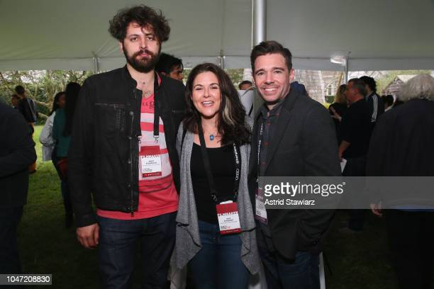 Filmmakers of Bathtubes Over Broadway Maxim Pozdorovkin Dava Whisenant and guest Ozzy Inguanzo attend the NYWIFT Brunch at Mulford Farm during...