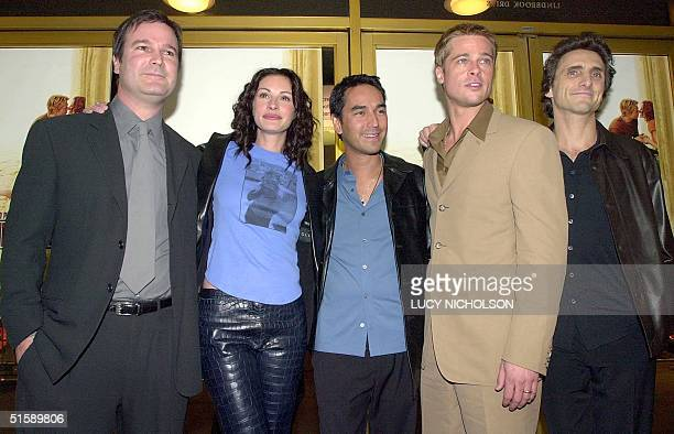 US filmmakers of new movie The Mexican pose at the premiere director Gore Verbinski actress Julia Roberts producer John Baldecchi actor Brad Pitt and...
