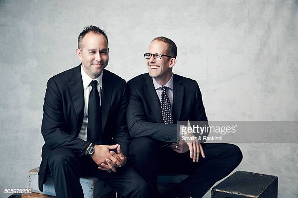 Filmmakers Pete Docter and Jonas Rivera poses for a portrait during the 21st Annual Critics' Choice Awards at Barker Hangar on January 17 2016 in...
