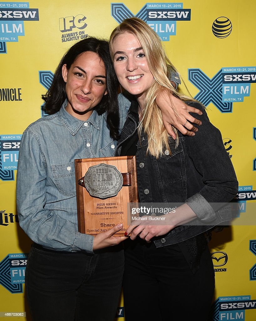 Filmmakers Pippa Bianco (L) and Danielle Oexmann poses with the award for 'Share' during the SXSW FIlm Awards at the 2015 SXSW Music, FIlm + Interactive Festival at the Paramount Theatre on March 17, 2015 in Austin, Texas.