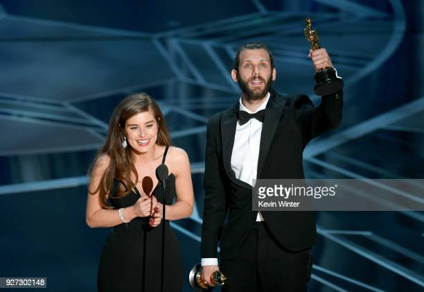 Filmmakers Rachel Shenton and Chris Overton accept Best Live Action Short Film for 'The Silent Child' onstage during the 90th Annual Academy Awards...