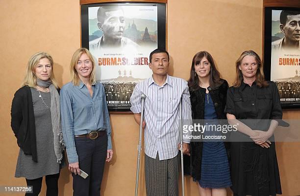 Filmmakers Ricki Stern and Annie Sundberg film subject Myo Myint SVP of HBO Documentary Films Nancy Abraham and producer Julie LeBrocquy attend the...