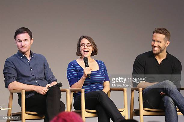Filmmakers Ryan Fleck Anna Boden and actor Ryan Reynolds attend Apple Store Soho Presents Meet The Actor Ryan Reynolds 'Mississippi Grind' at Apple...