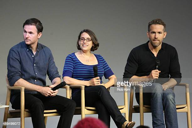 Filmmakers Ryan Fleck Anna Boden and actor Ryan Reynolds attend Meet The Actor Ryan Reynolds 'Mississippi Grind' at Apple Store Soho on September 21...