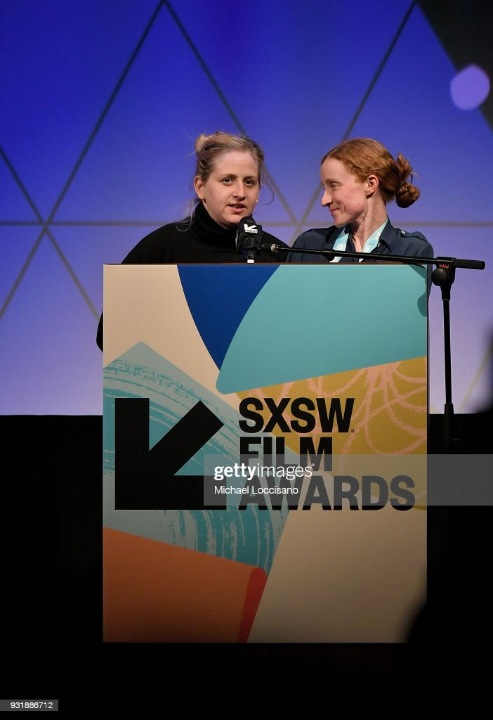 Filmmakers Sarah Winshall (L) and Jenny Murray accept the SXSW Luna Bar Chicken and Egg Documentary Award award for 'Las Sandinistas!' at the SXSW Film Awards show during the 2018 SXSW Conference and Festivals at Paramount Theatre on March 13, 2018 in Austin, Texas.