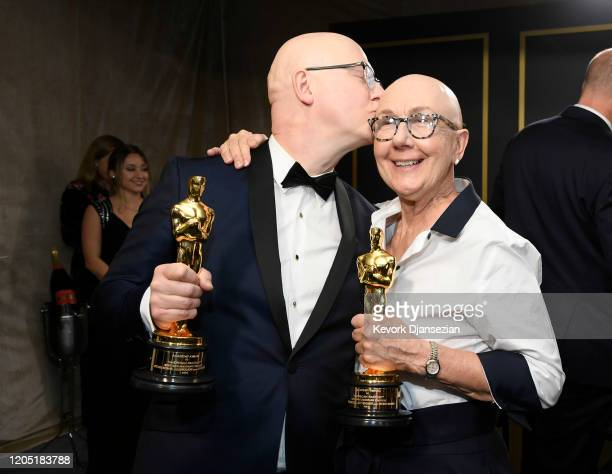 "Filmmakers Steven Bognar and Julia Reichert winners of the Documentary Feature award for ""American Factory"" attend the 92nd Annual Academy Awards..."