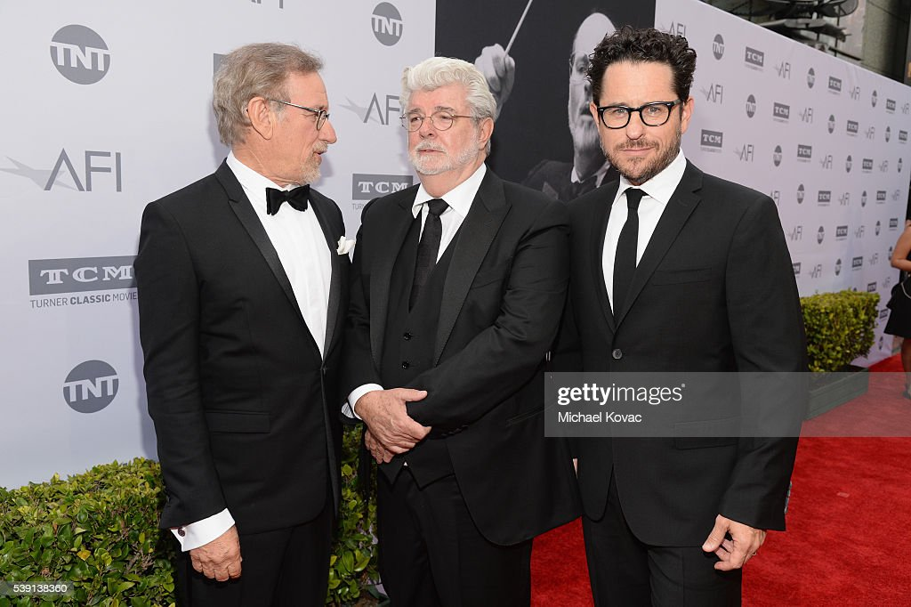 Directors George Lucas and Steven Spielberg arrive at the