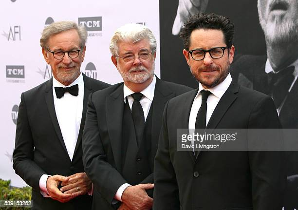 Filmmakers Steven Spielberg George Lucas and JJ Abrams attend American Film Institute's 44th Life Achievement Award Gala Tribute to John Williams at...