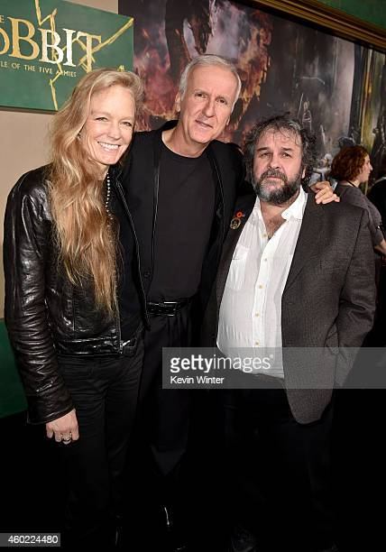 Filmmakers Suzy Amis Cameron James Cameron and Peter Jackson attend the premiere of New Line Cinema MGM Pictures and Warner Bros Pictures' The Hobbit...