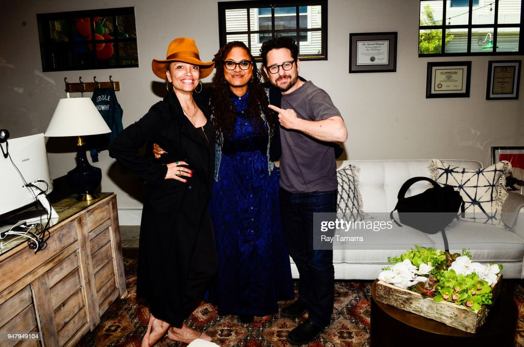 Filmmakers Victoria Mahoney, Ava DuVernay, and JJ Abrams attend the ARRAY Open House at the ARRAY Headquarters on April 17, 2018 in Los Angeles, California.