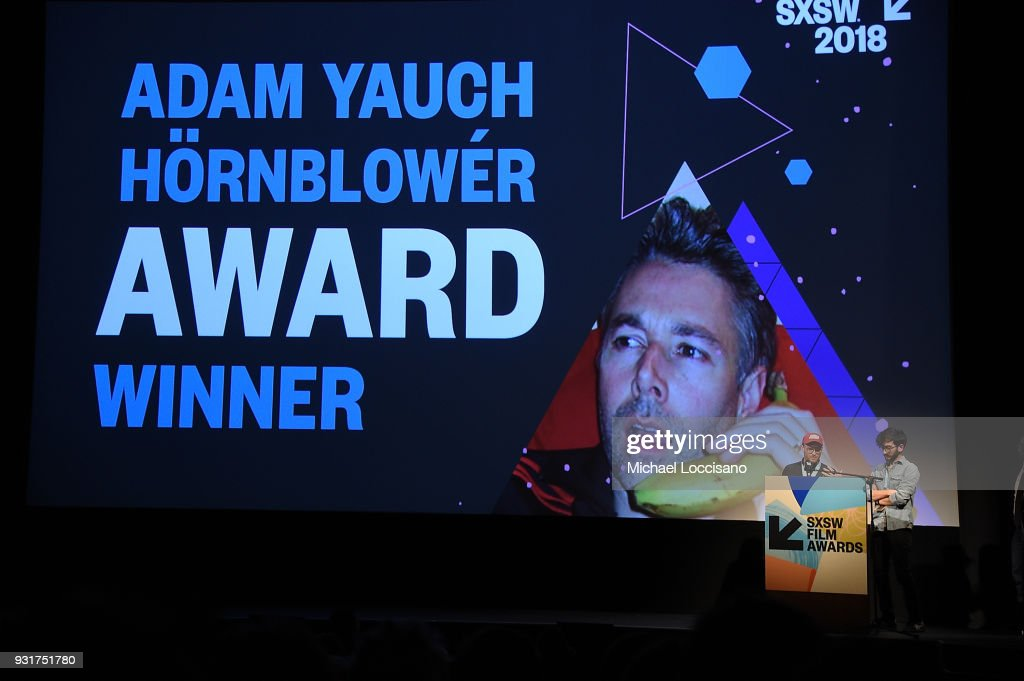 Filmmakers Zeek Earl (L) and Chris Caldwell accept the Adam Yauch Hornblower award for 'Prospect' at the SXSW Film Awards show during the 2018 SXSW Conference and Festivals at Paramount Theatre on March 13, 2018 in Austin, Texas.