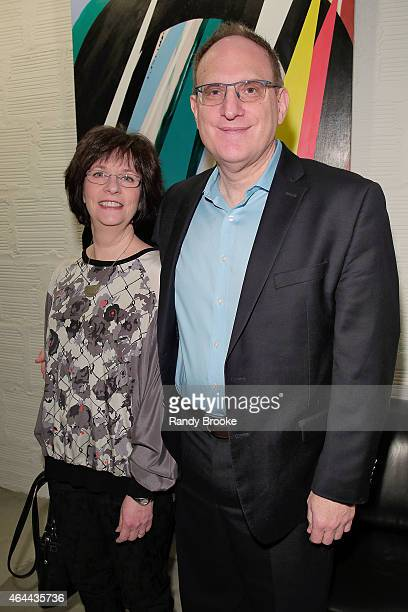 FilmRise CEO Danny Fisher with his wife Barbara Fisher attend FilmRise Celebrates new office in Industry City Brooklyn at FilmRise on February 25...