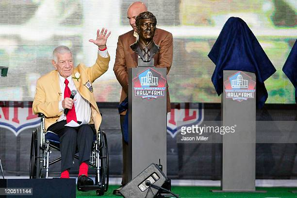 Films creator Ed Sabol waves to the fans at the Enshrinement Ceremony on August 6 2011 in Canton Ohio