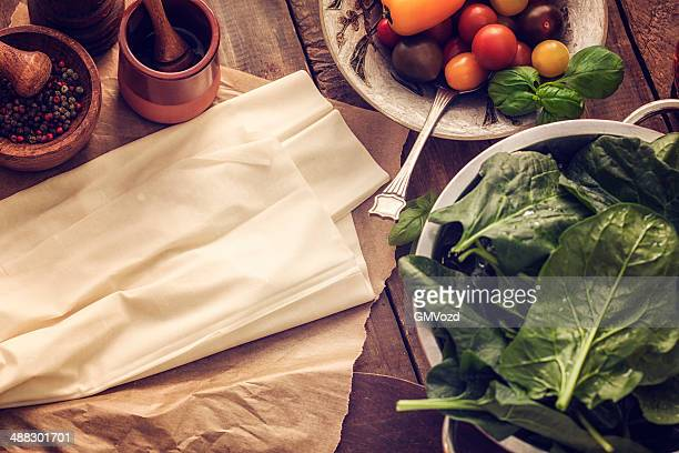 Filo Pastry, Spinach and Tomatoes