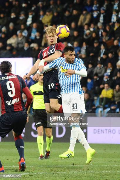 Filp Helander of Bologna FC heads the ball during the Serie A match between SPAL and Bologna FC at Stadio Paolo Mazza on January 20 2019 in Ferrara...