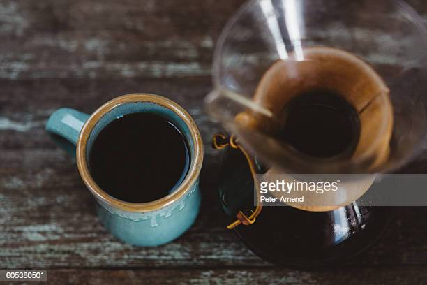 Filter coffee maker and mug of coffee, overhead view