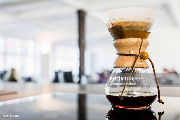 Filter coffee maker on table