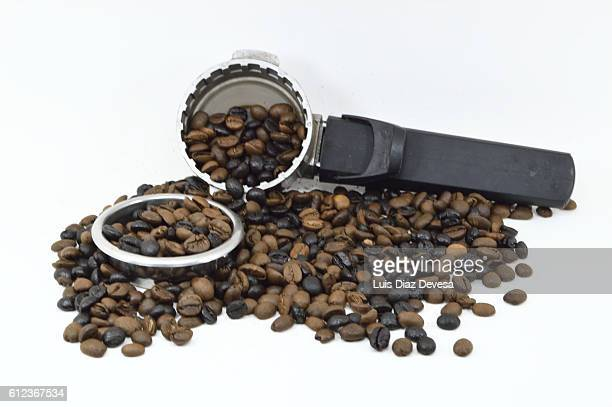 Filter holder of an espresso machine with  coffee beans