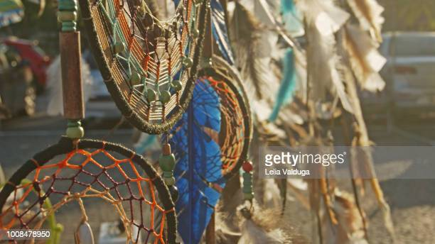 filter of dreams and their feathers - crafts - north american tribal culture stock pictures, royalty-free photos & images