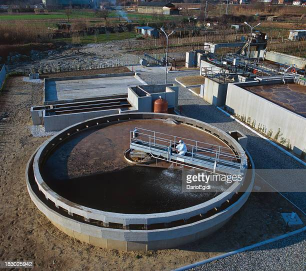 Filtering tank of industrial sewage treatmen plant, aerial view