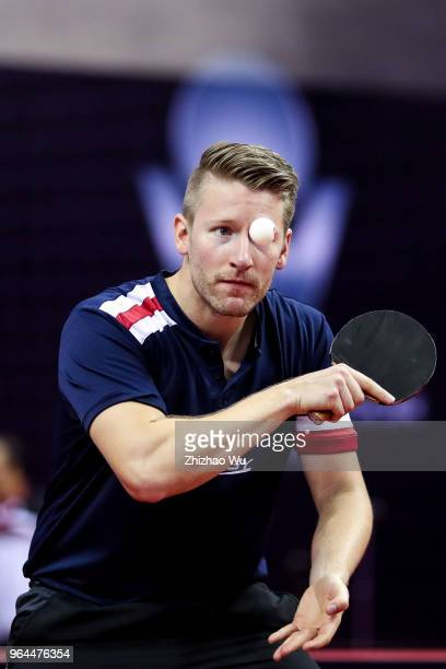 Filus Ruwen in action at the mixed doubles match compete with Morizono Masataka and Ito Mina of Japan during the 2018 ITTF World Tour China Open on...