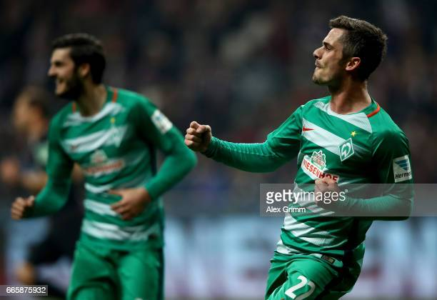 Fin Bartels of Bremen celebrates after he scores the 2nd goal during the Bundesliga match between Eintracht Frankfurt and Werder Bremen at...