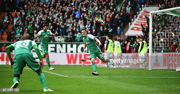 Fin Bartels of Bremen celebrates scoring his goal during the Bundesliga match between Werder Bremen and VfL Wolfsburg at Weserstadion on April 16,...